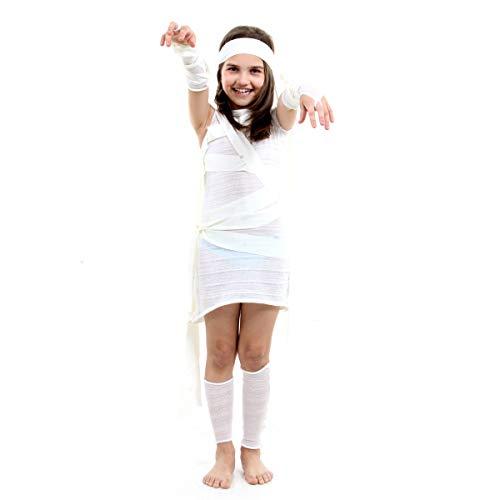 Fantasia Múmia Feminina Infantil Sulamericana Fantasias Branco P 3/4 Anos