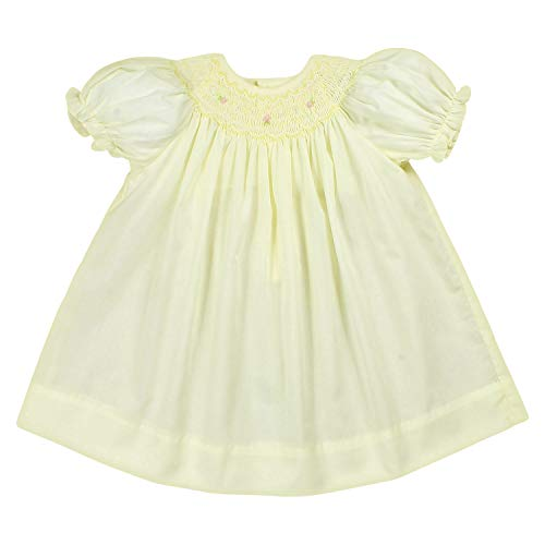 Petit Ami Baby Girls' Bishop Smocked Short Sleeve Dress, Maize, 3 Months