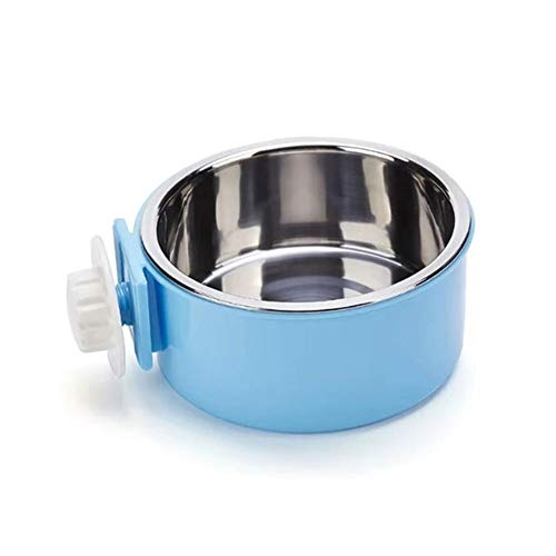 Dog Bowl Feeder Pet Puppy Food Water Bowl, 2-in-1 Plastic Bowl & Stainless Steel Bowl, Removable Hanging Cat Rabbit Bird Food Basin Dish Perfect for Crates & Cages, Blue