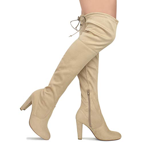 Premier Standard - Women's Over The Knee Boot - Sexy Over The Knee Pullon Boot - Trendy Low Block Heel Shoe - Comfortable Easy Heel Boot, TPS Amaya-01 v2 Natural Size 5.5
