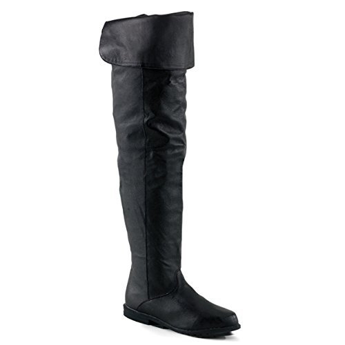 Summitfashions Thigh Hi Boot Black Pig Leather No Platform No Heel Size: 12