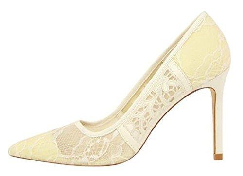 WUIWUIYU Femme Sexy Escarpins Bout Pointu Talon Aiguille Chaussures de Soirée Mariage Blanc WlvhZDCYzh