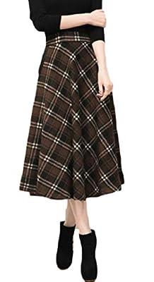 HTOOHTOOH Womens Vintage High Waist Wool Elegant Thicken Plaid A-Line Midi Skirt
