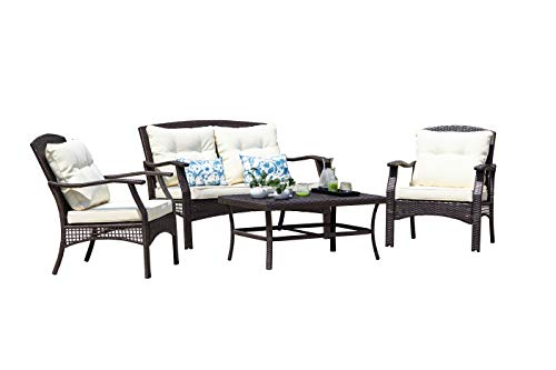 SUNTONE Outdoor Furniture 4 Piece Conversation Set- All Weather PE Rattan Wicker  Patio Furniture Set, Beige Cushions, 2 Throw Pillows (2018 New, Brown) - STURDY & DURABLE: Outdoor conversation set constructed fron reinforced rust-resistant powder coated steel frame that can support up to 300 pounds per seat, all-weather wicker and Grade 5 UV-resistant fabric for long-lasting vibrant color (Please note the dimension showed in the picture). COMFORTABLE & MODERN: 3.5-inch thick sponge padded seat cushions, 2 extra throw pillows provide gentle yet effective support to your back for more comfort, comfortable size and modern design perfect for conversation and drinks. EASY TO CLEAN: All cushions come with zippered polyester covers, washable and quick-drying (except back cushions). - patio-furniture, patio, conversation-sets - 31xStL0F3ZL -