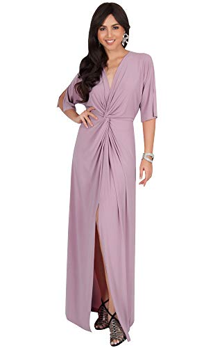 Jersey Matte Long Dress (KOH KOH Plus Size Womens Long Sexy V-Neck Short Sleeve Cocktail Evening Bridesmaid Wedding Party Slimming Casual Summer Maxi Dress Dresses Gown Gowns, Dusty Pink XL 14-16)