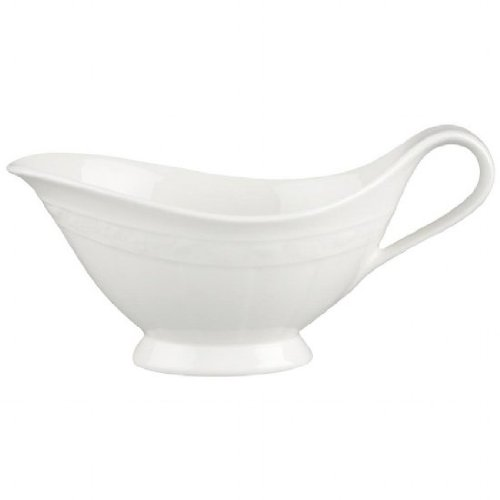 Villeroy and Boch White Pearl Sauceboat 0.40L (Sauce Boat Only) (Pearl Gravy Boat)