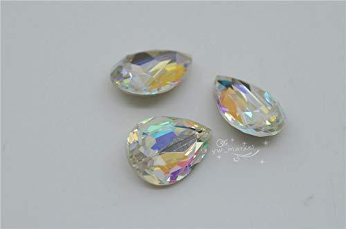 FidgetKute K9 Crystal AB Faceted Glass Rhinestone Jewels Stone Multi Shape You Pick 10x14mm pear 36pcs