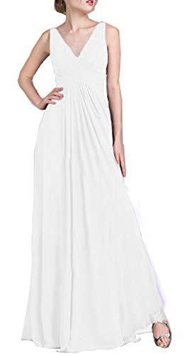 Miao Duo Women's Long V Neck Straps Prom Celebrity Dress Chiffon A line Formal Wedding Party Evening Celebrity Gowns White 08