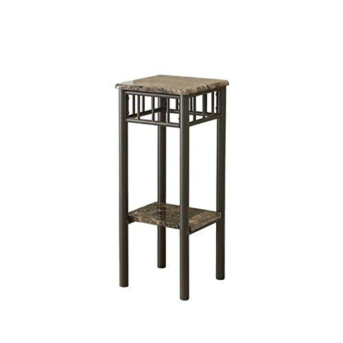 Monarch Specialties Bronze Metal and Cappuccino Marble Plant Stand ()