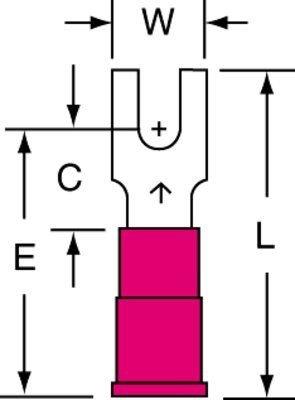 (3M(TM) Scotchlok(TM) Block Fork, Vinyl Insulated Butted Seam MVU18-6FB/SK, Stud Size 6)