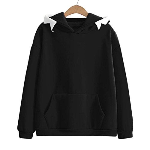 Cappuccio Felpe cappello della Orecchie signora Nero tasca animali il del con Reasoncool shirt Con di Donna della qEffd