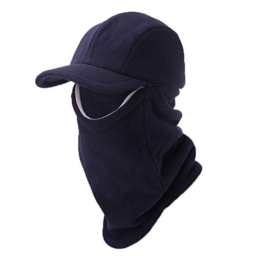 (Jeff & Aimy 2 Piece Hat & Scarf Sets Mens Baseball Cap Neck Gaiters Warmer Fleece Balaclavas Winter Hat Large)