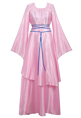 Zhitunemi Women's Halloween Cosplay Costume Renaissance Medieval Irish Over Lolita Dress Victorian Retro Gown Role Pink-L ()