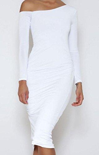 De Ajustement Femmes Robe Hanche La Coolred Paquet Solide Mince Blanc Oblique Longues Manches I8qU0z