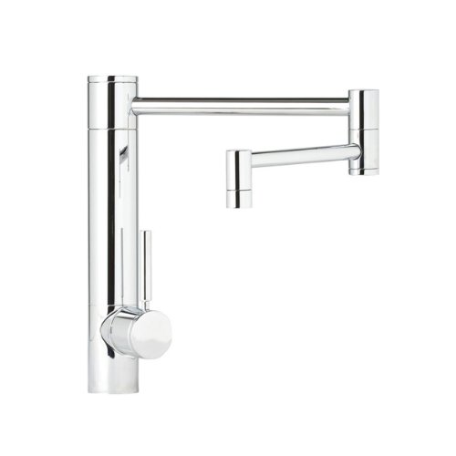 (Waterstone 3600-18-SC Hunley Single Handle Kitchen Faucet with 18-Inch Articulated Spout, 2-Piece, Satin Chrome)