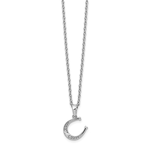 - 925 Sterling Silver Diamond Horseshoe Chain Necklace Pendant Charm Good Luck/italian Horn Fine Jewelry For Women Gift Set