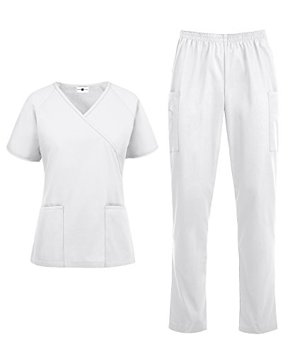 - Women's Medical Uniform Scrub Set – Includes Mock Wrap Top and Elastic Pant (XS-3X, 14 Colors) (Medium, White)