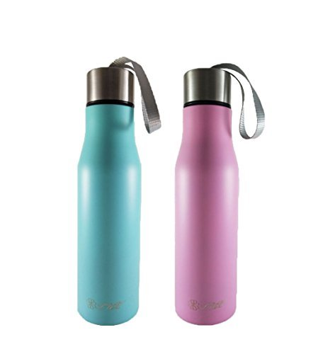 Lux Water Bottle - 17oz Vacuum Insulated Double Wall 18/8 Stainless steel (Pink)