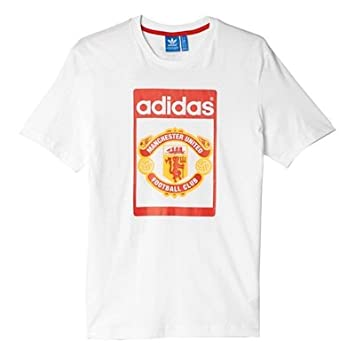 a33039ee2 Manchester United adidas Originals Tounge T-Shirt White  Amazon.co.uk   Sports   Outdoors