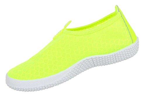 Damen Schuhe Halbschuhe Slipper Neongelb
