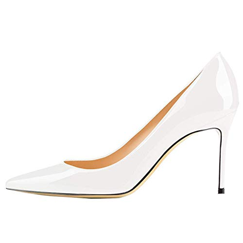 Lovirs Womens White Patent Office Basic Slip on Pumps Stiletto Mid-Heel Pointy Toe Shoes for Party Dress 8 M US