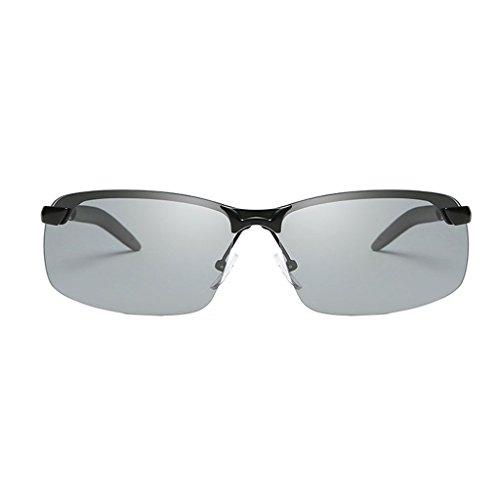 Lens soleil conduite Couleur vision night vision lunettes Lunettes de lens équitation polarisées Gray Discoloration métallisé LX Frame de nocturne frame hommes Black LSX CqtxB