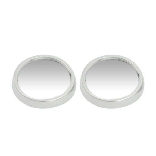 2 Pcs Car Side Rearview Convex Rear View Spot Blind Mirror Silver Tone 47mm