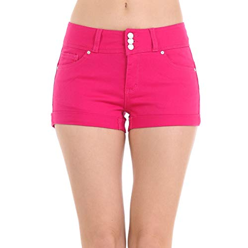 Wax Women's Juniors Stetchy Mid Rise Denim Shorts, Rose Fuschia, Small