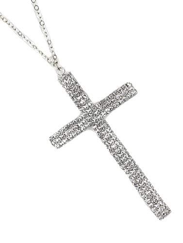 Fashion Jewelry ~ Rhinestone Cross Pendant Necklace (Silvertone Clear) ()
