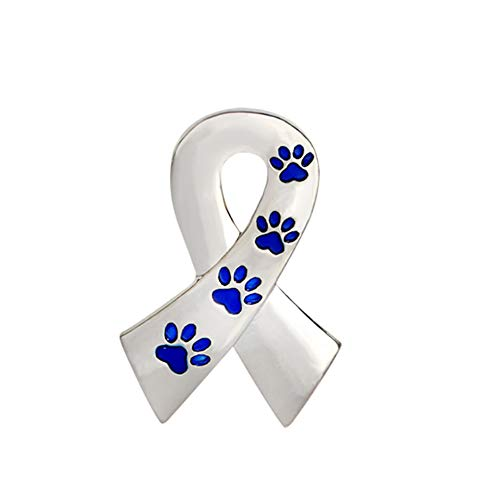 Classical Breast Cancer Awareness Tied Ribbon Brooches Pin for Women Fashion Enamel Cat Puppy Dog Paw Footprint Brooch Jewelry (Blue)