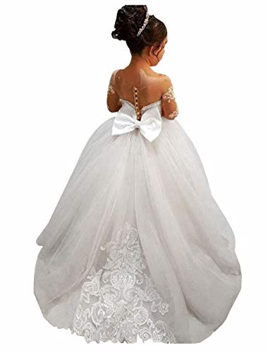 GZY White Ivory Lace Long Sleeve Flower Girl Dresses Princess Gown Pageant Dress GZY202-WH-4 - Flower White Long Sleeve
