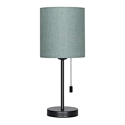 HAITRAL Bedside Table Lamp - Modern Nightstand Lamps with Fabric Shade, Pull Chain Switch Small Desk Lamps for Bedrooms, Kids Room, College Dorm - CadetBlue (HT-TH102-10) - 【MODERN & MINMALIST DESIGN】 The modern table lamp is designed for a stylish and elegant look that fits any decor scheme, such as urban, modern, minimalist, vintage and traditional. The stylish design showcases black metal base with cadet blue shade for an added upscale feel and elegant touch to any room. 【PERFECT SIZE FOR ANY DESK】 Lamp dimensions - 16.3 x 7.5 x 5.5 inches, the stick lamp has a mini basic that fits to any desk, table or dresser. It's small lamp but it can give off a nice amount of light, able to brighten up a room by itself. Dresses up any room with a soft radiance! It's perfect for bedrooms, kids room, college dorm, nursery, office, girls room or den. ❥ (Please be clear about the size when you browse) 【BULB REQUIREMENTS】 The HAITRAL nightstand lamp can be only equipped with an E26 standard size light bulbs, Max 60 watts (Without Bulbs). It's compatible with a variety of light bulbs, such as incandescent, halogen bulbs, LED or CFL light bulbs. Its cadet blue shade softens the light that provides a flicker-free lighting for reading, studying or working. Eye-caring and affordable! - lamps, bedroom-decor, bedroom - 31xTCifFSnL. SS400  -