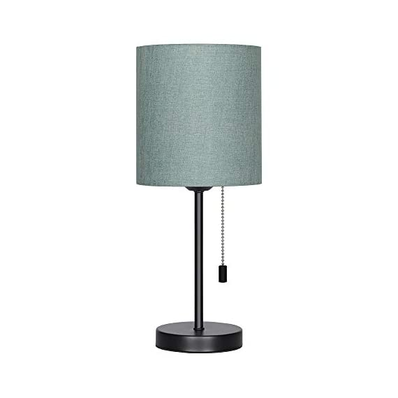 HAITRAL Bedside Table Lamp - Modern Nightstand Lamps with Fabric Shade, Pull Chain Switch Small Desk Lamps for Bedrooms, Kids Room, College Dorm - CadetBlue (HT-TH102-10) - 【MODERN & MINMALIST DESIGN】 The modern table lamp is designed for a stylish and elegant look that fits any decor scheme, such as urban, modern, minimalist, vintage and traditional. The stylish design showcases black metal base with cadet blue shade for an added upscale feel and elegant touch to any room. 【PERFECT SIZE FOR ANY DESK】 Lamp dimensions - 16.3 x 7.5 x 5.5 inches, the stick lamp has a mini basic that fits to any desk, table or dresser. It's small lamp but it can give off a nice amount of light, able to brighten up a room by itself. Dresses up any room with a soft radiance! It's perfect for bedrooms, kids room, college dorm, nursery, office, girls room or den. ❥ (Please be clear about the size when you browse) 【BULB REQUIREMENTS】 The HAITRAL nightstand lamp can be only equipped with an E26 standard size light bulbs, Max 60 watts (Without Bulbs). It's compatible with a variety of light bulbs, such as incandescent, halogen bulbs, LED or CFL light bulbs. Its cadet blue shade softens the light that provides a flicker-free lighting for reading, studying or working. Eye-caring and affordable! - lamps, bedroom-decor, bedroom - 31xTCifFSnL. SS570  -