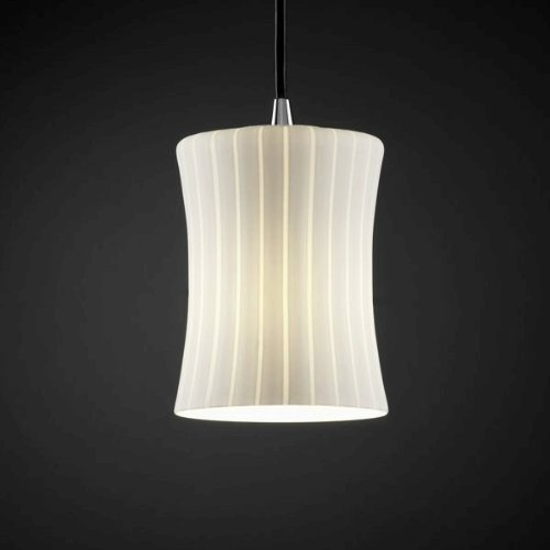 Justice Design FSN-8815-60-DROP-CROM Mini One Light Pendant, Glass Options: DROP: Droplet Glass Shade, Choose Finish: Polished Chrome Finish, Choose Lamping Option: Standard (Crom Mini)