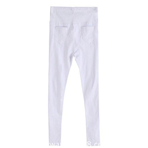 Laixing Hot Maternity Pants Leggings Belly Abdominal Trousers Slim Pencil Pants 012-2 White