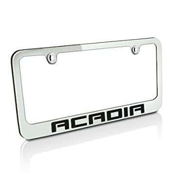 gmc acadia chrome metal license plate frame lifetime warranty