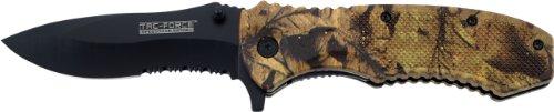 TAC Force TF-800CA Spring Assist Folding Knife, Black Half-Serrated Blade, Outdoor Camo Nylon Fiber Handle, 4-1/2-Inch Closed