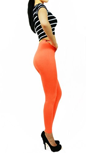 Women's Solid Basic Stretch Seamless Leggings Pants(Combo Available) (ORANGE)