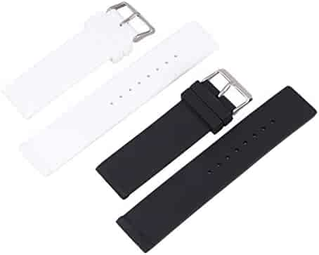 Hemobllo 2pcs Silicone Watch Band Quick Release Watch Strap Waterproof Sport Watch Replacement Band 20mm (Black White)