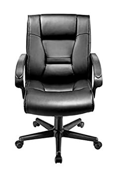 Brenton Studio Ruzzi Vinyl Mid-Back Chair, 41-3 4 H x 24-1 2 W x 27-1 6 D, Black
