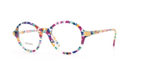 Missoni 867 A47 Clear and Pink and Blue Authentic Women Vintage Eyeglasses - Missoni Frames Glasses