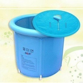 Happy life portable plastic bathtub blue import it all for Resin tubs pros and cons