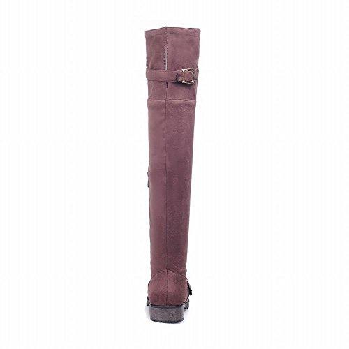 Carolbar Femmes Mode Multi Boucle Zipper Confort Simple Casual Bas Talon Robe Bottes Marron