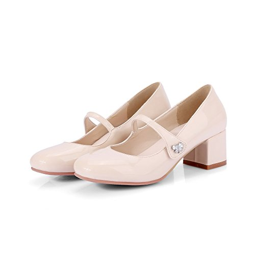 Puro Tirare Punta Maiale Voguezone009 Medio Pelle Quedrata Di Donna Beige Tacco Ballet flats SCzTnwqH