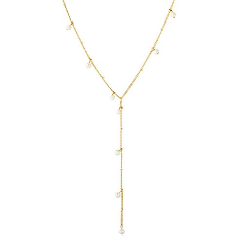 SEAYII Women Y Necklace Gold Satellite Y Chain Drop Pendant Lariat Y Shaped Freshwater Mini Pearl Dangle 14K Gold Fill Dainty Simple Layering Delicate Handmade Gold Jewelry Gift]()