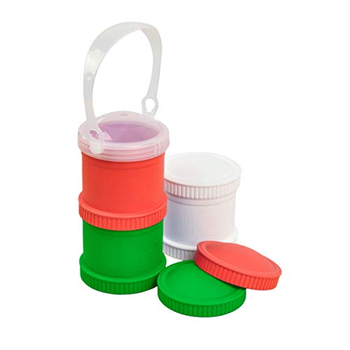 Re-Play Made in The USA 7 Piece Stackable Food and Snack Storage Containers for Babies, Toddlers and Kids of All Ages - Red, White, Kelly Green (Christmas/Holiday)