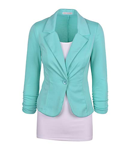 Floral Petite Blouse - Auliné Collection Women's Casual Work Solid Color Knit Blazer Mint Large