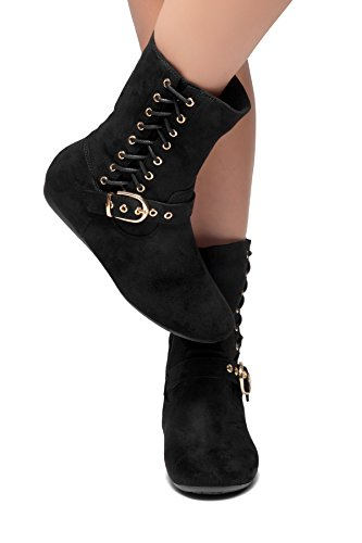 Herstyle Rule Breaking Womens Stacked Heel Round Toe Riding Boots Buckle and Lace Detail Booties Side Zipper Closure Black pfyWgJ1b