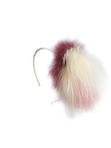 Bari Lynn Swarovski Crystal Plush/Off-White/Mauve Color Fox Fur Headband ()
