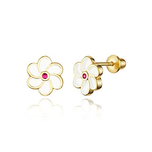14k Gold Plated Enamel Flower Cubic Zirconia Baby Girls Screwback Earrings with Sterling Silver Post